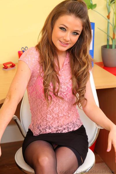 Jess Impiazzi Flirty Secretary Strips to Her Black Stockings