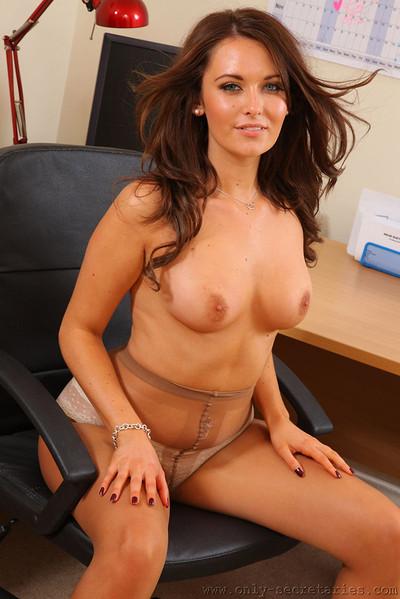 Zoe Alexandra Curvy Secretary Strips to her Pantyhose